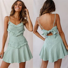 Fashion New Lace Dress Summer  Fringed Stitching Strap Women 2019