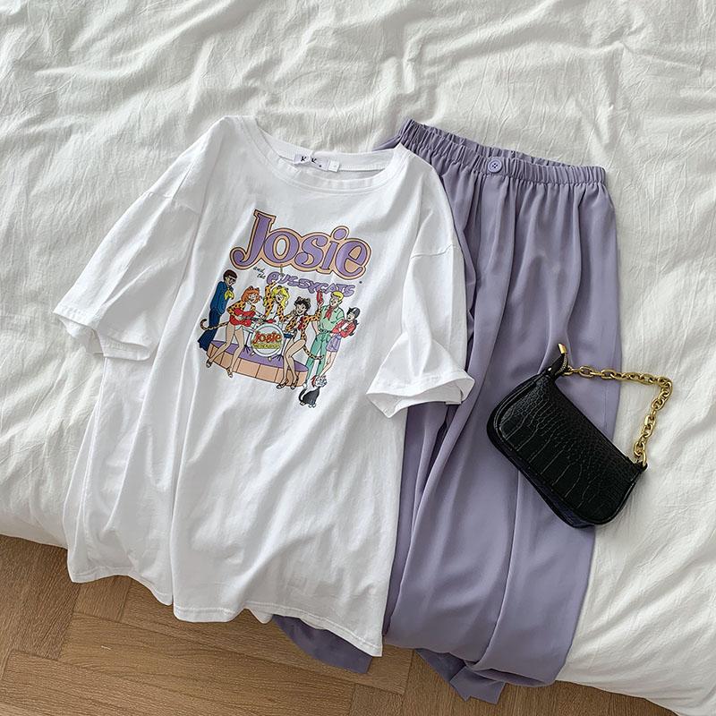 Summer Fashion Pant Set Women Casual Oversize Print White T-shirt + High Waist Wide Leg Loose Long Pant Matching Set Two Pieces