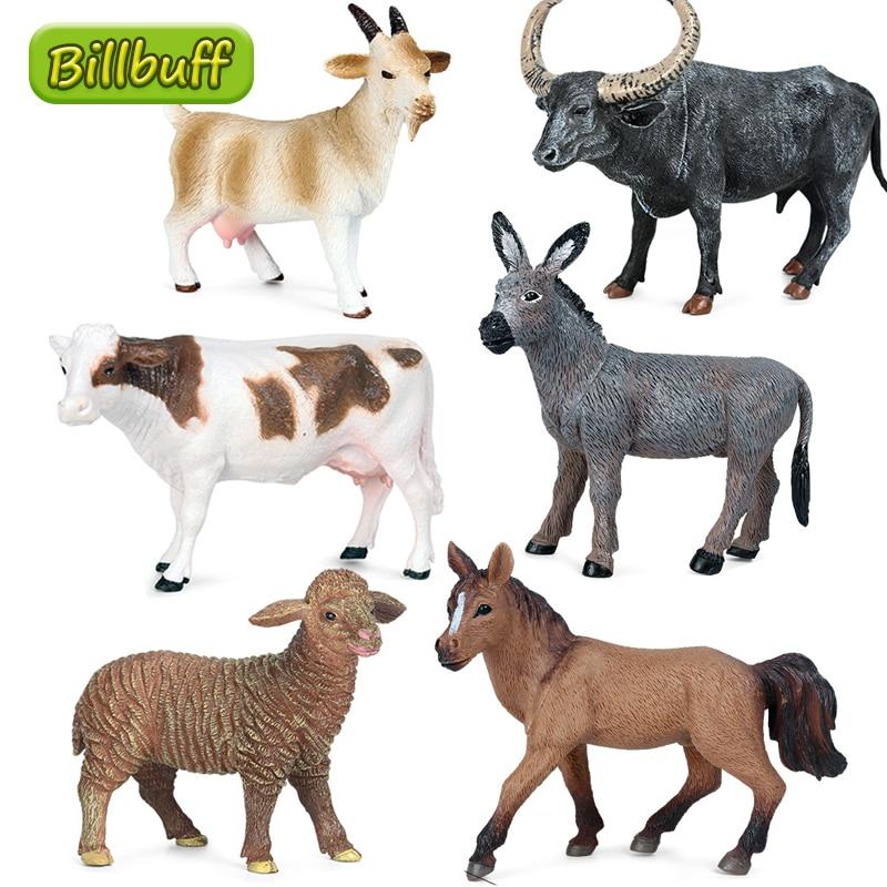 Высококачественная имитация домашней птицы, овец, лошадь, корова, курица, ПВХ Модель, миниатюрная ферма, фигурки, обучающая игрушка для дете...