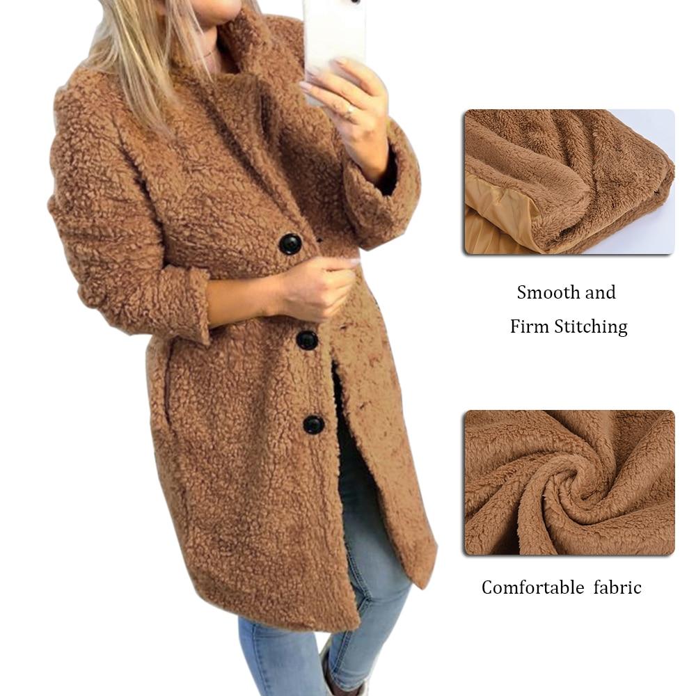 HEFLASHOR Women's Plush coat autumn winter Women Button Jacket Casual Warm turndown collar fur Outwear Mid-Length Woolen jackets 1