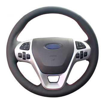 DIY Free Customized PU Steering Wheel Stitch on Wrap Cover For Ford Explorer