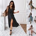 Women Dresses Summer 2021 Fashion Polka Dot Split Boho Dress V-Neck Women Casual Beach Vacation Long Dresses Vestido De Mujer