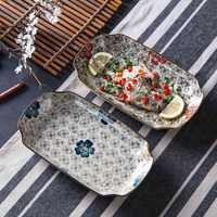 Japanese Style Hand Painted Ceramic Plate Rectangle Dinner Plate Creative Tableware Ceramics Fruit Tray Fish Plate