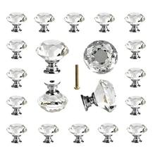 25 шт стеклянные ручки для выдвижных ящиков с кристаллами, прозрачные 30 мм алмазные ручки для кухни, ванной комнаты, комода и шкафа