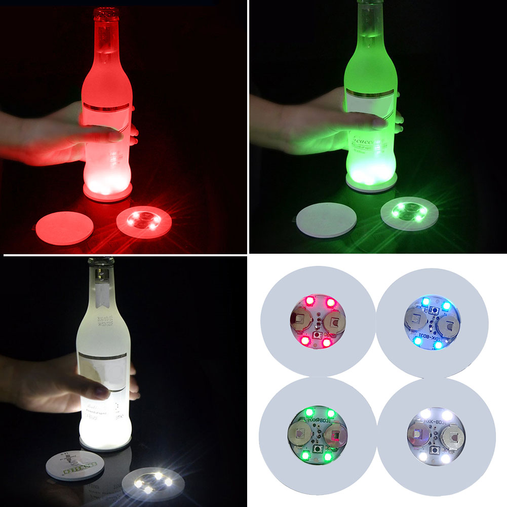Drinking Glass Color Changing LED Coasters Flat Foam Core Board 4 Lights Decorative Battery Powered Slightly Cushioned Party 1PC