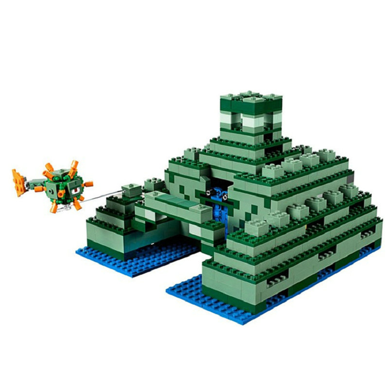 The Ocean Monument Building Blocks With Steve Action Figures Compatible LegoINGlys MinecraftINGlys Sets Toys For Children 21136 2