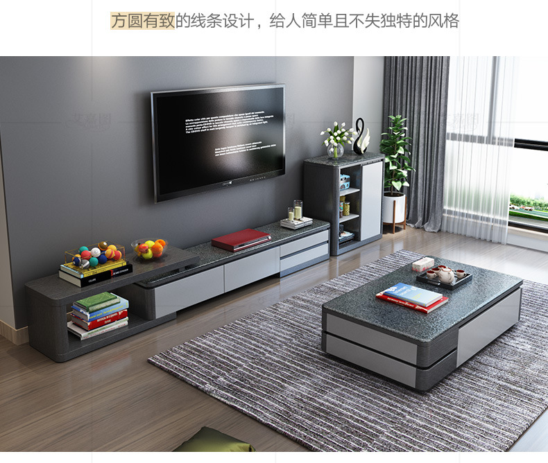 US $1234.05 5% OFF|TV stand table living room home furniture modern style  fashionable paint wooden leather TV unit and cabinet + coffee table-in TV  ...
