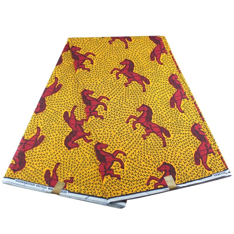 Ankara 100% Cotton Wax Horses Prints 2019 Wax High Quality African Veritable Wax For Party Dress Fabric