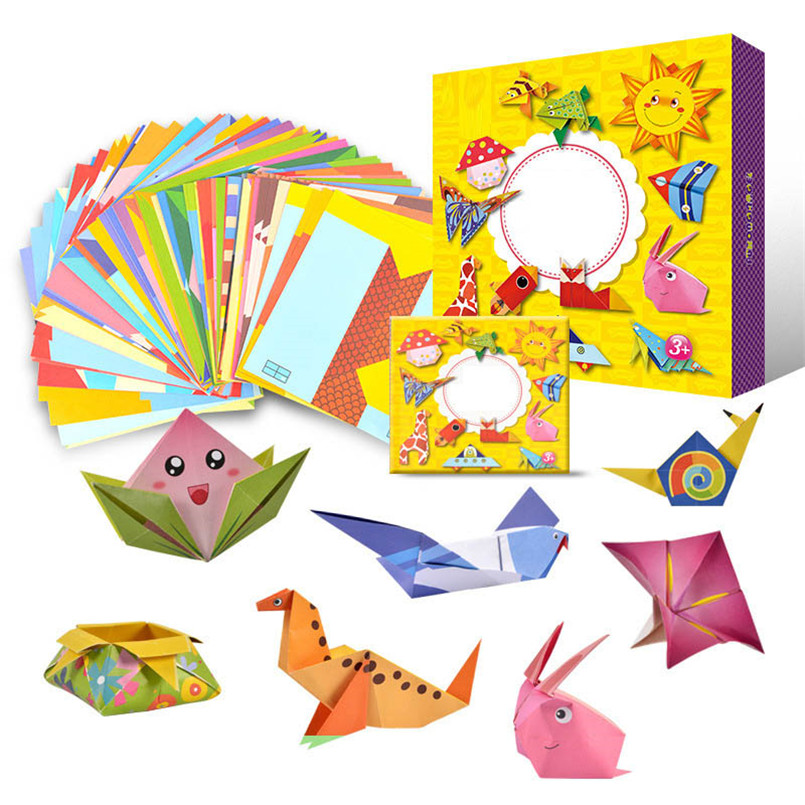 Craft Toys 54 PCS Cartoon Origami Paper Colorful Book Children Toy Animal Pattern 3D Puzzle DIY Craft Papers Educational Toys
