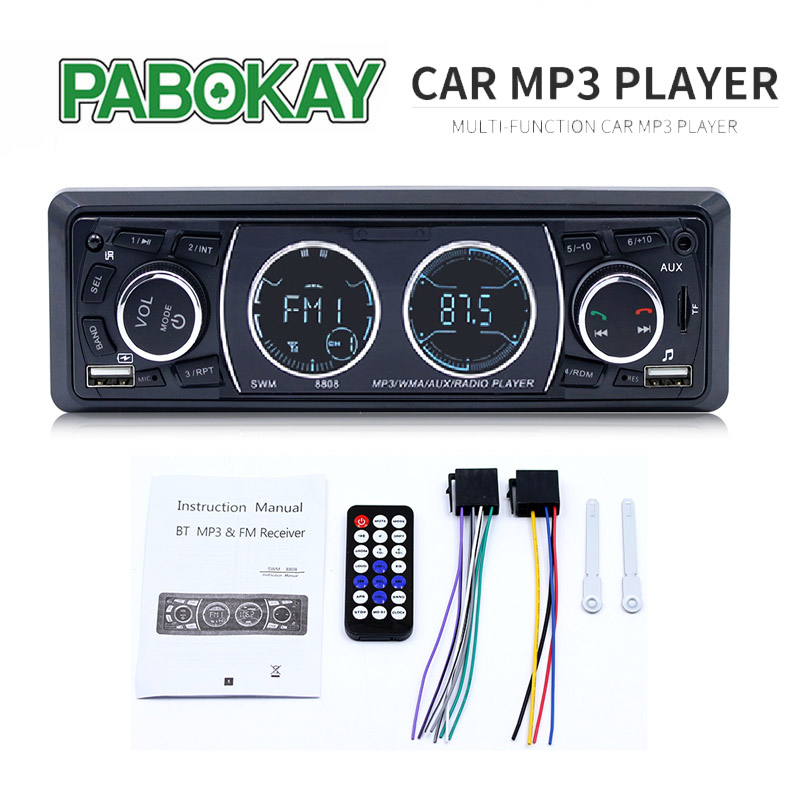 8808 1 Din Car Radios 4'' LCD Stereo MP3 Music Player Bluetooth Dual USB TF AUX FM Radio Hands Calling In-dash image