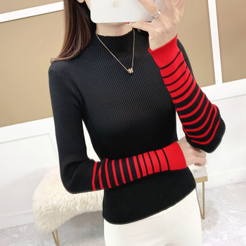 shintimes Woman Sweater Autumn And Winter 2019 Striped Contrast Color Long Sleeve Pullovers Women Turtleneck Knitted Pull Femme turtleneck fashion patchwork knitted sweater women pullovers contrast color streetwear sweaters tops autumn winter pull femme