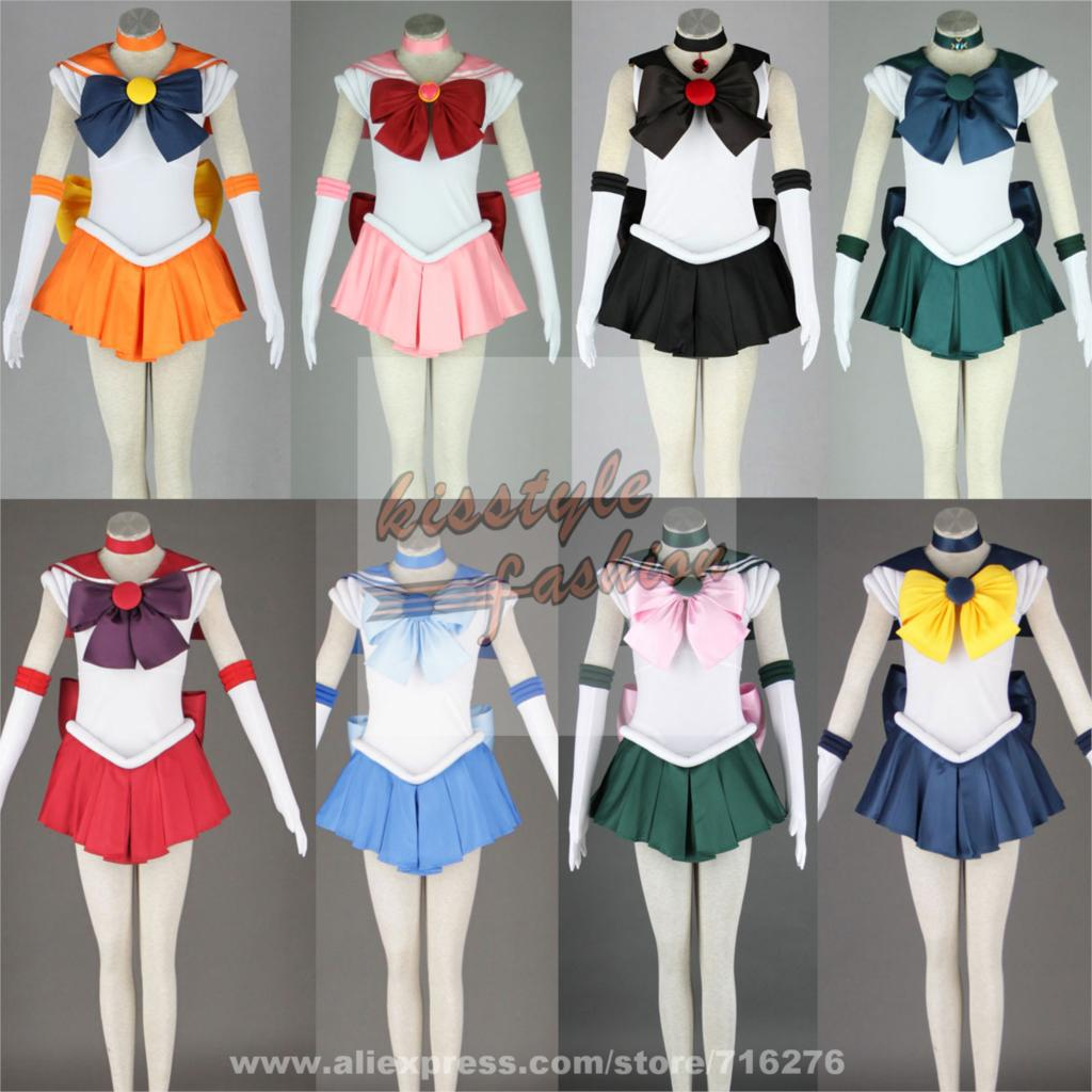 Pretty Soldier Sailor Moon Venus Jupiter Mercury Mars Neptune Saturn Chibi 1G Party Dress Halloween Cosplay Costume
