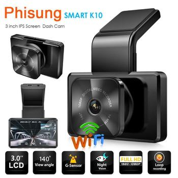 Phisung K10 Auto Dashcam DVR FHD 1080P Car Camera Recorder Mirror WiFi App Playback with Rear View Camera Video Recording image