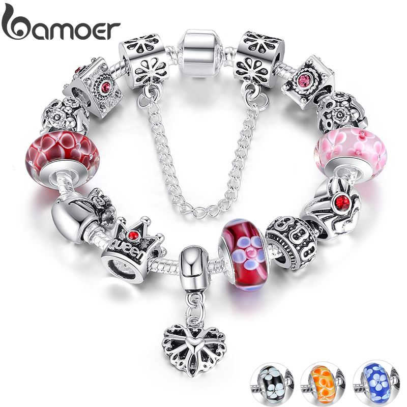 BAMOER Queen Jewelry Silver Plated Charms Bracelet & Bangles With Queen Crown Beads Bracelet for Women PA1823(China)