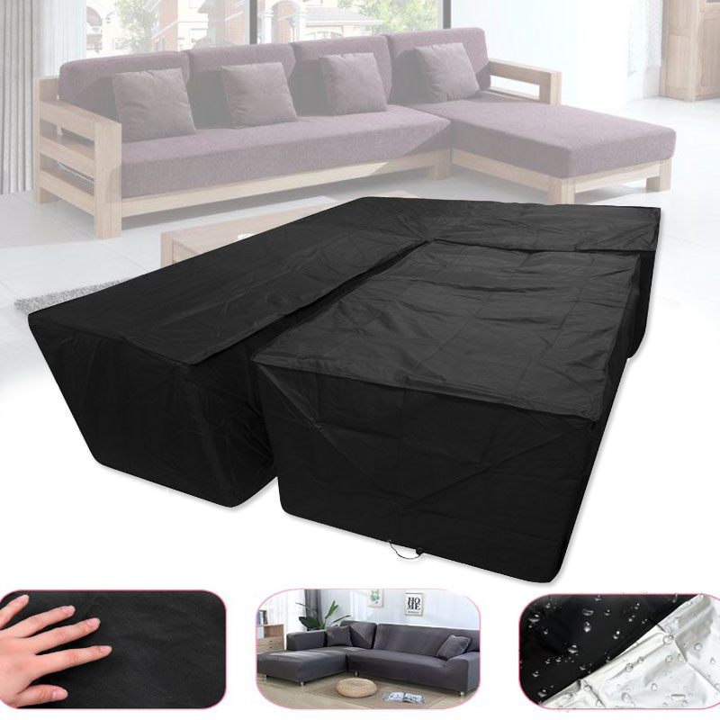 Outdoor L-type Sofa Cover Furniture Cover Garden Rattan Horn Furniture Cover Outdoor Courtyard Protective Cover Dust-proof Cover
