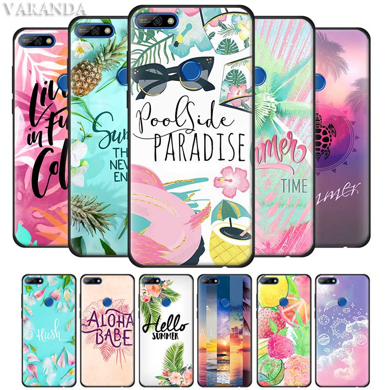 Cool In <font><b>Summer</b></font> <font><b>Cases</b></font> for <font><b>Huawei</b></font> Y9 Prime 2019 Y7 <font><b>Y6</b></font> Y5 <font><b>2018</b></font> Honor 20Lite 20i Play Black <font><b>Silicone</b></font> Soft Casos Cover image