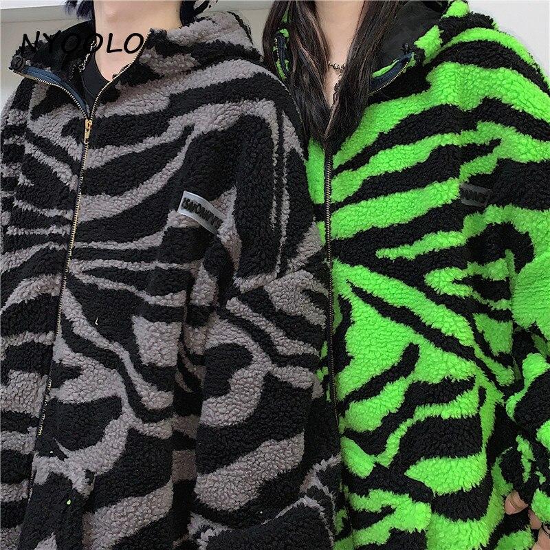 Hb34ec89cde4e46d98797ae44c69cdb17h NYOOLO 2020 Winter Streetwear Zebra Pattern Lamb Woolen Thicken Warm Zipper Hooded Padded Coats Women Men Harajuku Loose Outwear