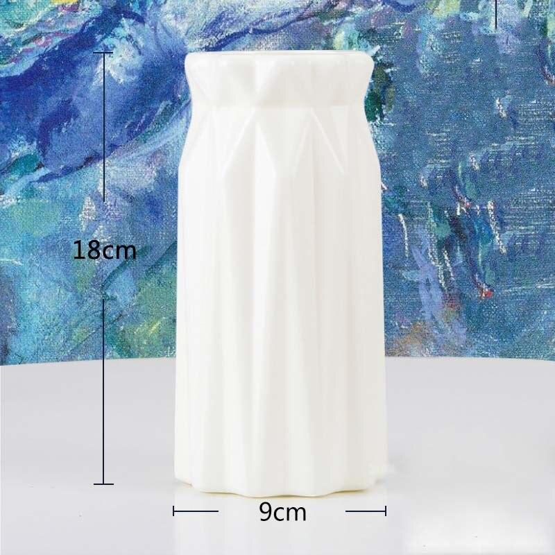 Оригами пластиковая ваза молочно-белая имитация керамического цветочного горшка Цветочная корзина Цветочная ваза для украшения интерьера скандинавские украшения - Цвет: 3501-Milky