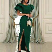 Женские праздвечерние чные платья макси с оборками на рукавах