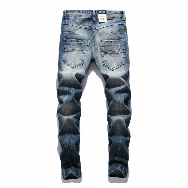 Di modo Retro Distrutto Degli Uomini Dei Jeans Slim Fit Classico Denim Dei Pantaloni Del Ricamo Toppe E Stemmi Jeans Strappati Uomini Streetwear Hip Hop Dei Jeans