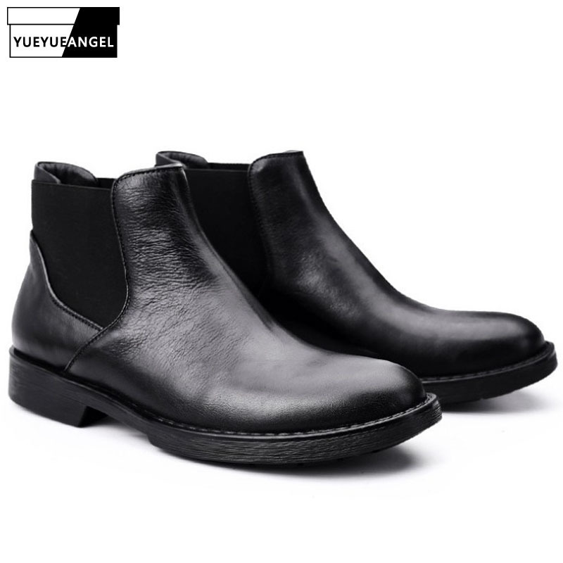 2020 New Chelsea Boots Men British Style Round Toe Genuine Leather Ankle Boots Black High Top Casual Work Booties Plus Size 45