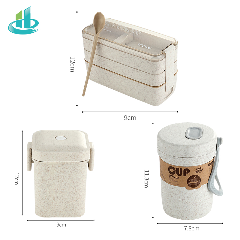 Image 5 - 900ml Portable Healthy Material Lunch Box 3 Layer Wheat Straw Bento Boxes Microwave Dinnerware Food Storage Container FoodboxLunch Boxes   -