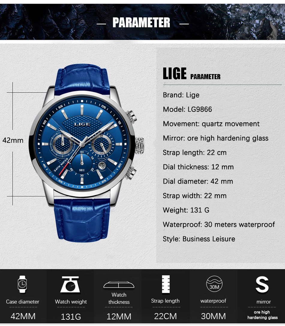 Hb34f18c478b447929a10bc0548add3dfg LIGE Fashion Mens Watches Top Brand Luuxury Blue Quartz Clock Male Casual Leather Waterproof Sport Chronograph Relogio Masculino