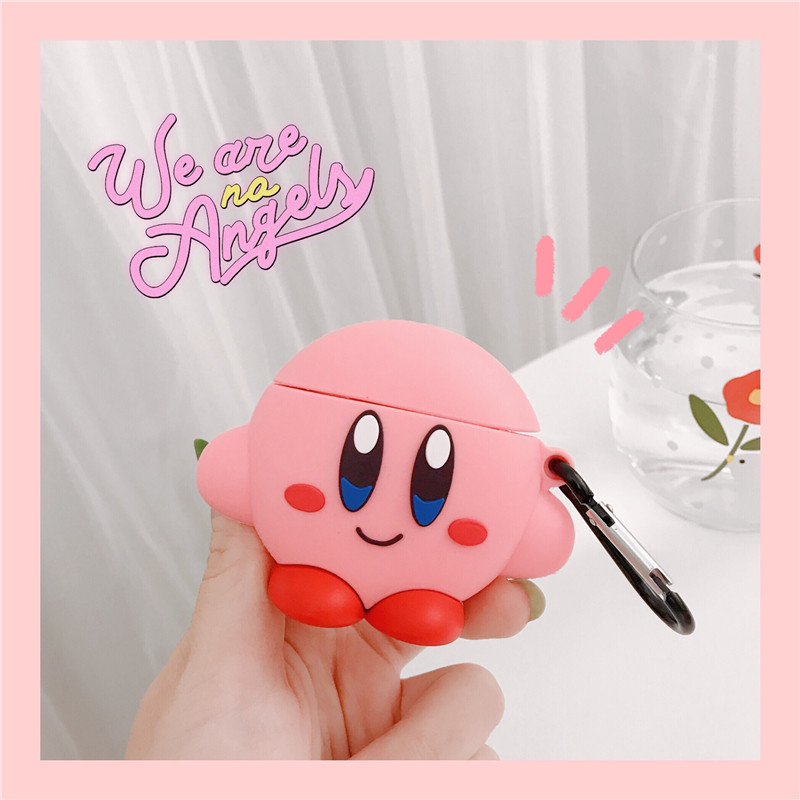 3D Cute Cartoon Pink Ball Kirby Star Allies Headphone Cases For Apple Airpods 1/2 Silicone Protection Earphone Cover Accessories-in Earphone Accessories from Consumer Electronics