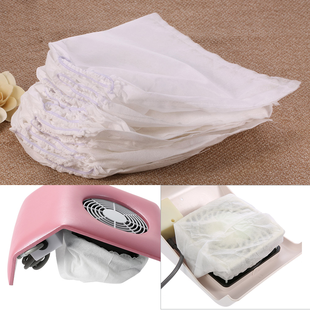 10Pcs/set White Non-woven Nail Dust Collector Bag for Nail Art Dust Suction Collector Use Nail Replacement Bag Manicure Tools