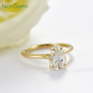 Image 5 - 14K Yellow Gold 1.5 Carat Pear Cut ring 4 prong set D Color Moissanite Engagement ring For  Wedding anniversary gift