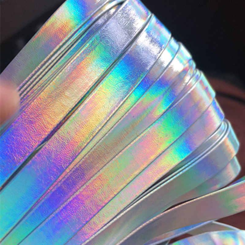 Sisi 工芸品テープレーザーシルバー 1 センチメートルホログラフィックリボン pu フェイクレザーフラットコードバイアス diy 毛の弓ハンドメイドアクセサリートリム 1 メートル