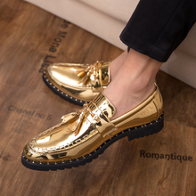 New Shoes Men Flat Black Golden Formal Patchwork Shoe PU Leather Casual For Man Dress ShoesWedding Party Zapatos