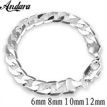 New 925 Sterling Silver Bracelet Sideways Silver Bracelet 6MM8MM10MM Bracelet Men&Women Jewelry