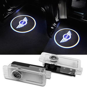 2 шт. светодиодный Автомобильный Дверной светильник, проектор логотипа для Mini Cooper CABRIO WORKS S R55 R56 R60 F54 F56 F60, аксессуары для стайлинга автомобиля