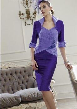 free shipping vestido plus size new gorgeous beaded de madrinha purple chiffon Mother of the Bride Dresses with jacket