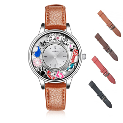 Leather Genuine Leather Band 316L Stainless Steel Floating Locket Watch for Women