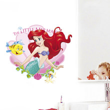 Cartoon Disney Kleine Zeemeermin Ariel Prinses Muurstickers Voor Badkamer Thuis Decoratie 3D Pvc Poster Kinderkamer Wall Art Decals(China)