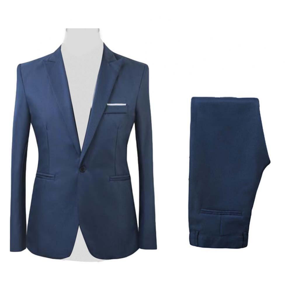 2Pcs/Set Men Formal Business Party Solid Color Long Sleeve Blazer Suit Pants Wedding Suits Man Suit For Men Blazer (Small Size)