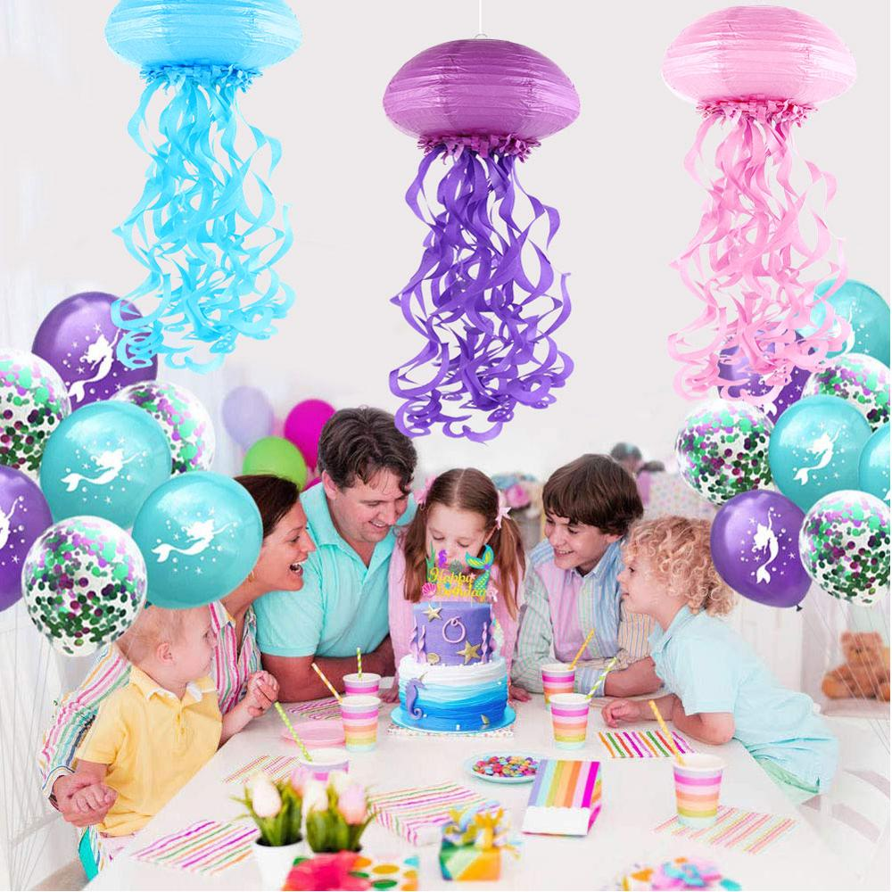 DIY Mermaid Theme Birthday Party Decorations Hanging Jellyfish Honeycomb Under The Sea Party Baby Shower Summer Party Supplies