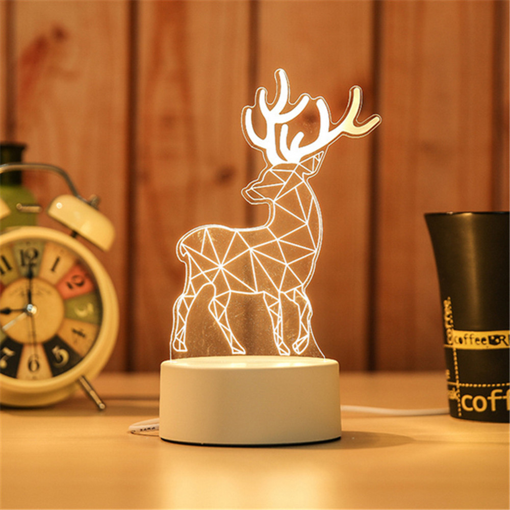 USB Power Night Light LED Deer 3D Eiffel Tower Acrylic Table Desk Bedroom Decor Gift Warm White Lamp Christmas Decorations#G8