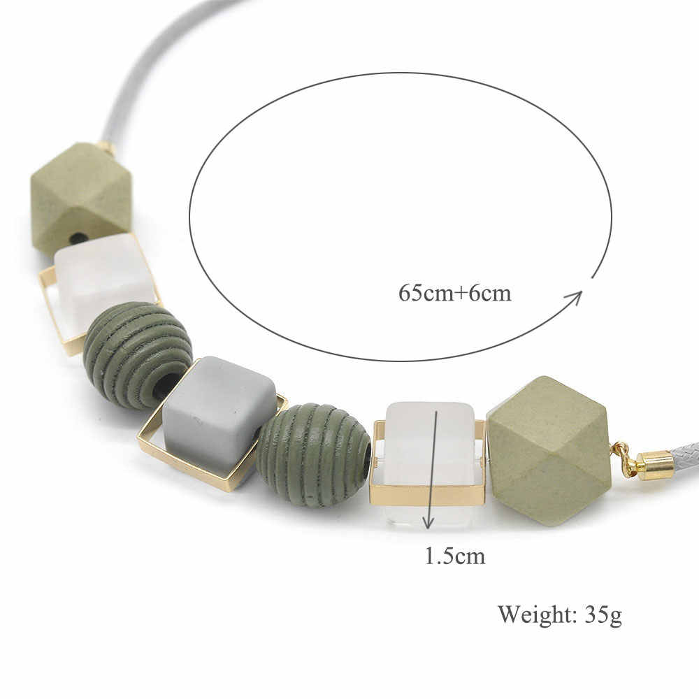 2019 Bohemia Acrylic Geometric Pendants & Necklaces Wood Beads Sweater Chain Necklace for WomenFashion Jewelry