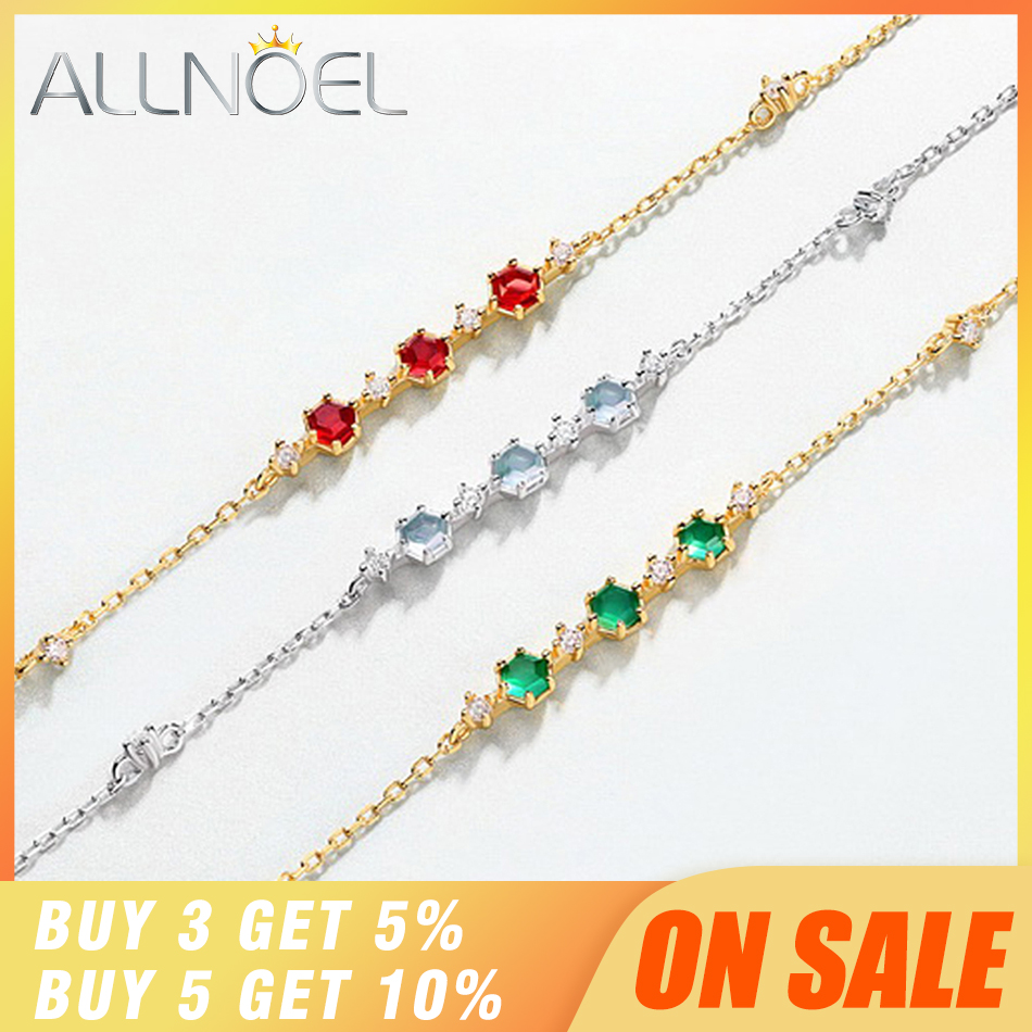 ALLNOEL Silver 925 Jewelry Gemstons Bracelet For Women S925 Sterling Silver Natural Agate Garnet Topaz Luxury Fine Jewelry Gift