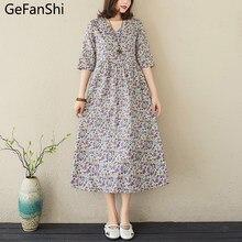 New Summer Women's Dress Plus Size Vintage Print Cotton Linen Short Sleeve V-Neck Casual Loose Ladies Fashion Sweet Dresses