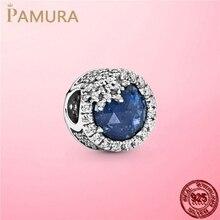 2020 New 925 Sterling Silver Dazzling Blue Snowflake Charm Beads fit Pandora Women Bracelet DIY Cubic Zircon Silver 925 Jewelry