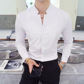 Mandarin Collar White Shirt Men New  MenSolid Shirt Long Sleeve Slim Fit Camisa Social Masculina Casual Mens Shirts 5XL-S zusigel collar white shirt double breasted black shirt mandarin collar shirt for men long sleeve slim fit muslim shirts men