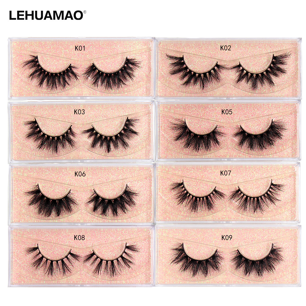 LEHUAMAO 50 Pairs/lot Makeup Eyelashes  3D Mink Eyelashes Fluffy Natural Long Lashes Cruelty Free False Eyelash Dramatic Eye