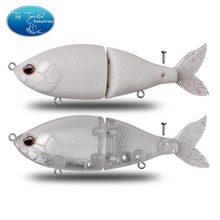Unpainted swimbait diy articulado isca de pesca lento afundando isca com cauda macia abs plástico artificial cf isca dura 150mm 55g