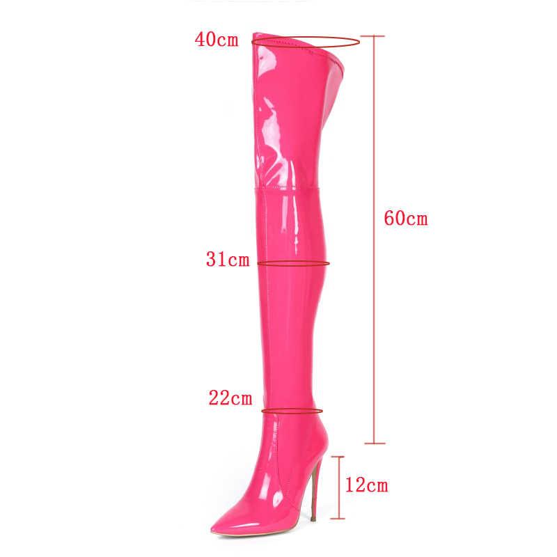 Olomm yeni moda kadınlar parlak uyluk yüksek çizmeler seksi Stiletto topuk çizmeler güzel sivri burun 5 renkler parti ayakkabıları kadınlar abd boyutu 3-13