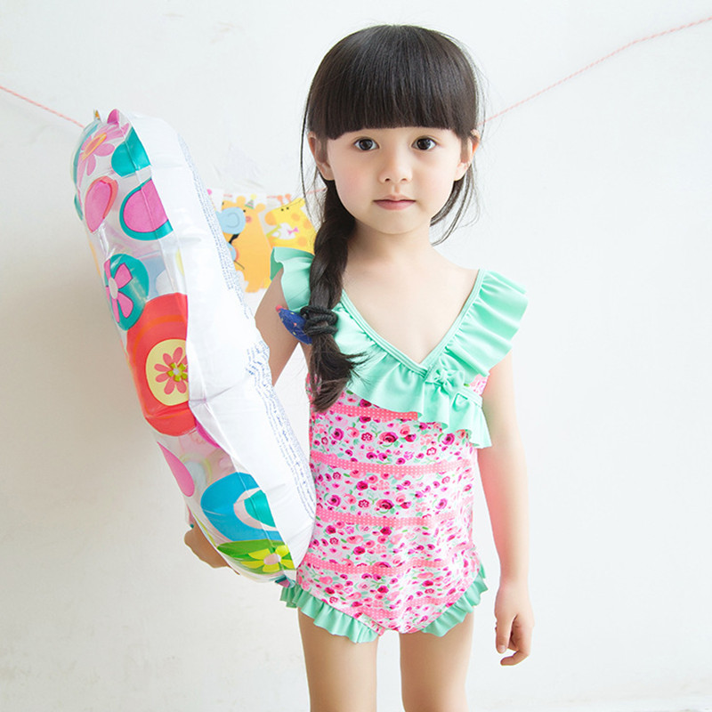 Special Offer Closeout Processing KID'S Swimwear Baby Infants GIRL'S Students Floral-Print One-piece Cute Swimwear