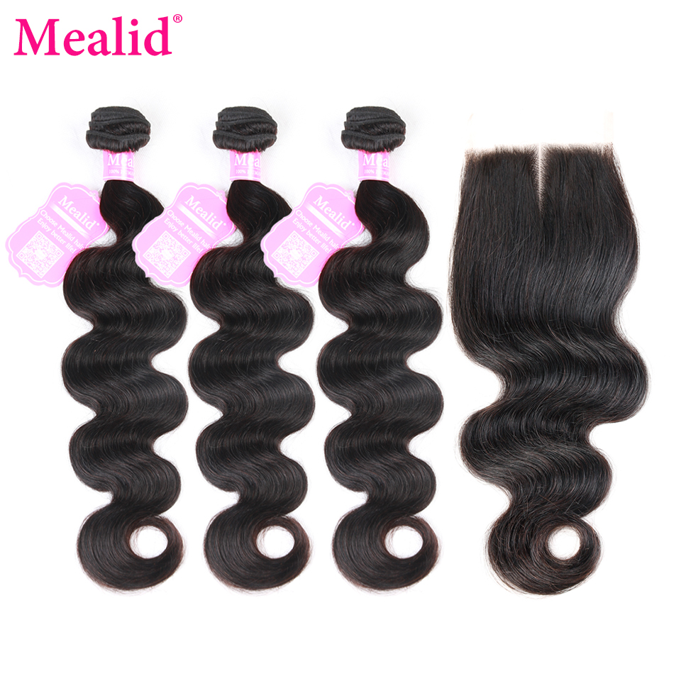 Mealid Brazilian Hair Body Wave Bundles With Closure Non Remy 3 4 Human Hair Weave Bundles With Closure Human Hair Extensions